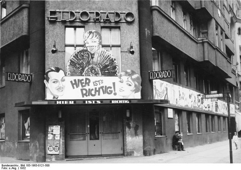 """Berlin: Das Vergnügungsetablissement """"Eldorado"""" an der Ecke Motz- und Kalckreuthstraße. (Aufn.: 1932) 12933-32"""